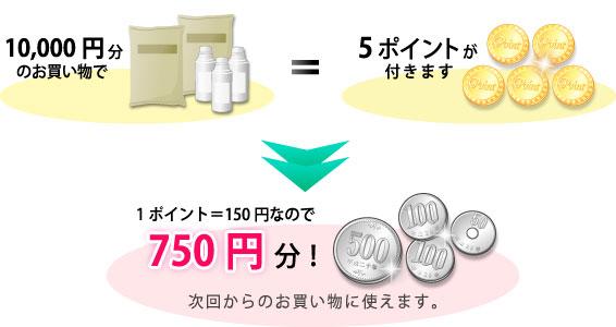 1万円分のお買い物で5ポイントが付きます。1ポイント150円なので、750円分を次回からのお買い物に使えます。